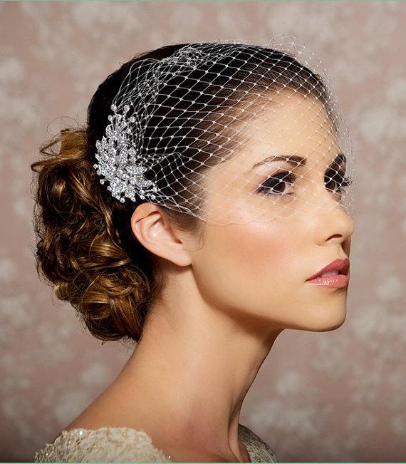 Birdcage Veil, Bridal Veil and Bridal Comb, Bandeau Birdcage Veil, Blusher Bird Cage Veil - QUICK SHIPPER - Detachable Rhinestone Hair Comb