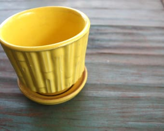 Yellow Bamboo McCoy Flower Pot, Succulent Planter, Vintage USA Planter, Yellow Decor, Indoor Garden, Bamboo, Vintage McCoy, McCoy Planter
