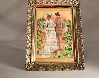 Gold Metal Filigree Picture Frame 5 x 7, Gold Metal White Wash Photo Frame, Easel Back, Table Top Frame, Gold Wedding Frame,  Leaf Pattern
