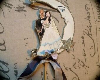 Wedding Cake Topper - Moon - Custom Illustrated - Hand Painted