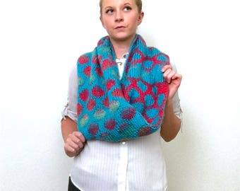 Polka Dot Infinity Scarf: Neon Pink and Blue