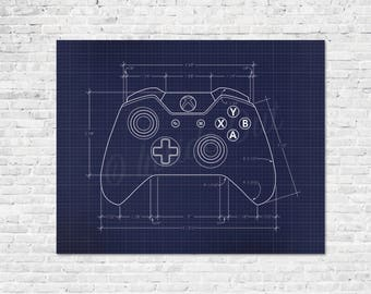 Video Game Controller Blueprint Game Poster - Gamer Wall Decor - XBOX - ATARI - Playstation - NES - Wii - Gamer Gift - Nintendo Wall Decor
