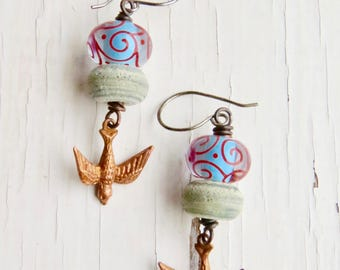 Above the Plains - unique artisan bead bird earrings in aqua, red, palest grey and copper with lampwork glass - Songbead UK, narrative