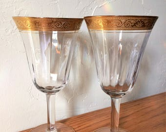 Vintage Morgantown Optic Gold Encrusted Wine Glasses Set of 2 Etched Rim  Water Goblets