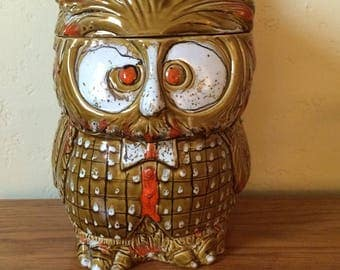 Vintage Owl Cookie Jar, Mid Century Owl Canister, Ceramic Canister, Made In  Italy