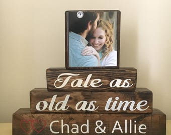 Tale as old as time sign, disney wedding sign, rustic wedding sign, unique wedding gift, bridal shower gift, personalized gift for couple