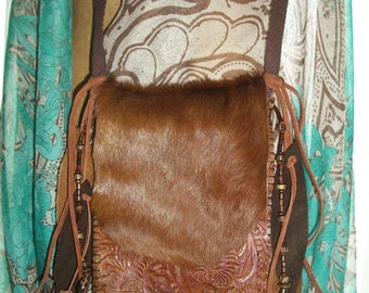 Leather/Suede Brown Crossbody Bag