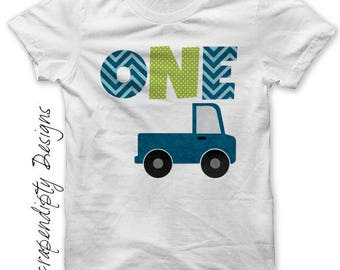 Boys First Birthday Iron on Transfer - One Tshirt PDF / Girls Truck 1st Birthday Outfit / Transportation Birthday Party / Kids One Tee IT556