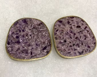 Celia Sebiri Earrings Amethyst Purple Clip On Brass Modernist Signed