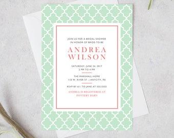Printable Bridal Shower Invitation, Trellis