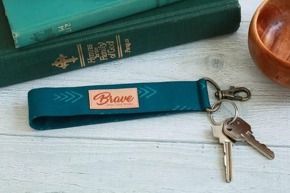 Wristlet Key Chain | Deep Teal Wrist Strap with Antique Brass Swivel Hook