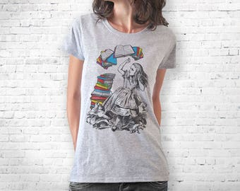 Alice in wonderland T-shirt-Alice flying books tee-cool T-shirt-college tee-graphic tee-back to school-alice tank top-NATURA PICTA-NPTS134