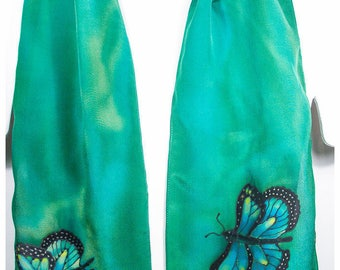 """Painted silk scarf. 8""""x52""""crepe. Butterfly silk scarf. Green silk scarf. Hand Painted Silk Scarf. Painted silk scarves. Silk scarf handpaint"""