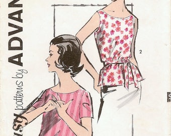 Great Vintage 1960s Advance 2809 Sew Easy Scoop neck Sleeveless or Short Sleeve Blouse Sewing Pattern B31