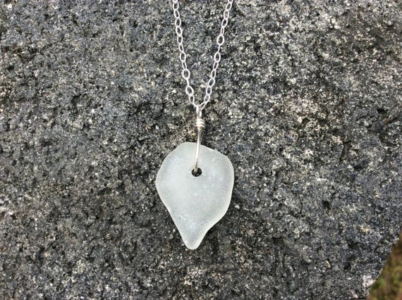 Surf Tumbled White Seaglass, Sterling Silver Chain Necklace
