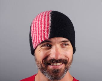 Men's Wool Felt Winter Hat // Merino Wool // Gifts for Him // Striped // Red and White Stripe // Beanie // Tuque // Unisex // Felted Hat
