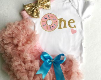 Donut Party 1st Birthday Donut Theme Bodysuit and Sequin Bloomers