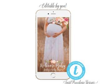 Baby Shower SNAPCHAT filter, Editable Geofilter, Welcome Baby Geofilter, Baby Shower Invitation, Snapchat filter, Templett, Instant Download