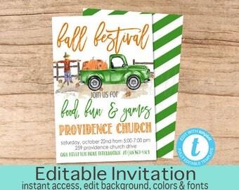 Fall Fest Flyer, Fall Festival Invitation, Pumpkin, Truck, Pumpkin Patch, Church, Fall Invite, Editable Flyer Template, Instant Download