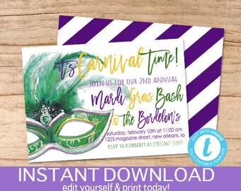 Mardi Gras Bash Invitation, Carnival Time Invite, Editable template, party gras, Masquerade ball, templett, Printable, Instant Download