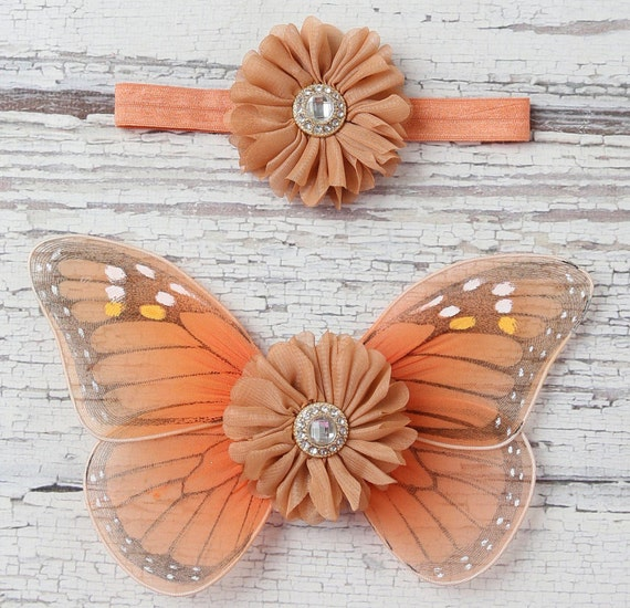 Monarch Butterfly Wings for Newborn Babies and/or matching headband, photo prop, newborn photographers, by Lil Miss Sweet Pea