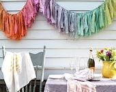Gypsy Torn Fabric Garland. Fabric Banner. Party Garland. Garland Backdrop. Nursery Garland. Childrens Decor. Birthday Banner. Kids Party.