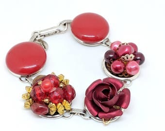 Red Bracelet, Red Jewelry, Rose Bracelet, Recycled Jewelry, Earring Bracelet, Upcycled Jewelry, Gift under 50, Valentine Gift, Holiday Bling