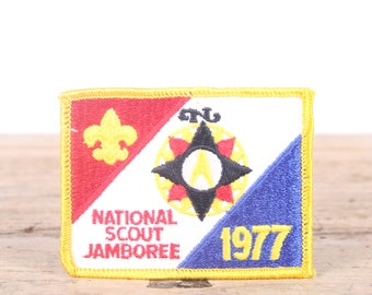 Vintage Scout Patch / 1977 National Scout Jamboree Patch / Boy Scout Patch / Girl Scout Patch / Grunge Patch / Red White Blue