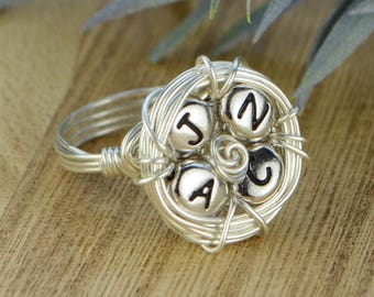 Family Nest Four Initials Personalized Wrapped Ring- Sterling Silver, Yellow or Rose Gold Filled Wire - Any Size 4 5 6 7 8 9 10 11 12 13 14