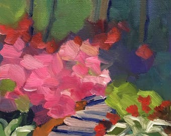 Color Garden Small Landscape Oil Painting on Canvas with Easel