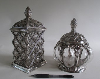 Silver and Glass Containers, Vintage Game of Thrones Decor Antiqued Silverplate Decorative Storage Display European Medieval Look