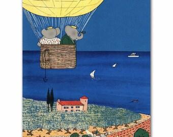 Hot Air Balloon Nursery Decor, Babar the Elephant Wall Art (Boys Blue Nursery Art, Baby Girls Room)