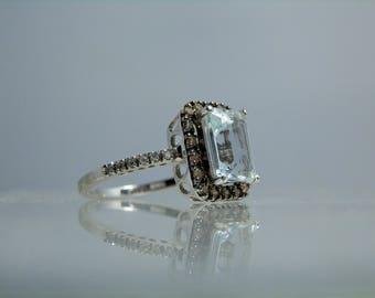 Vintage Aquamarine Champagne Diamond 14k White Gold Ring by BH Size 7 Emerald Cut Natural Aqua Gemstone DanPickedMinerals