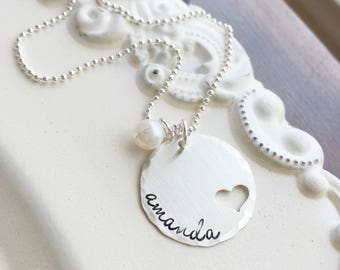 Mothers Necklace . Name Necklace . Personalized Jewelry . Personalized Necklace . Handmade Jewelry . Gift for Mom . Heart Necklace .
