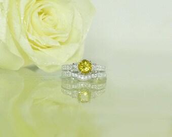 Sterling Wedding Set, Yellow Wedding Set, Beryl Ring, Gemstone Wedding Set, Wedding Set, Yellow Gemstone Ring, Wedding Set, Beryl
