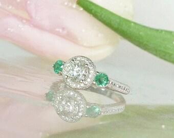 Emerald Engagement Ring, Halo Engagement Ring, May Birthstone Ring, Natural Gemstone Ring, Herkimer Diamond, Emerald Ring, Emerald Halo Ring