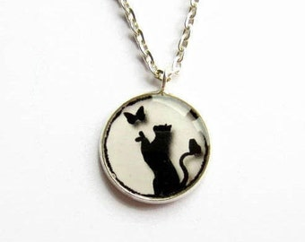Black Cat Necklace, Cat and Butterfly Picture Pendant, Cat Jewelry, Resin Jewelry, Gift for Cat Lover, Gift for Her