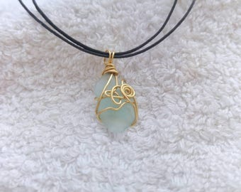 Sky blue sea glass necklace. Wire wrapped seaglass pendant on cord choker necklace.  Beach finds genuine sea glass. Eco Israel jewelry