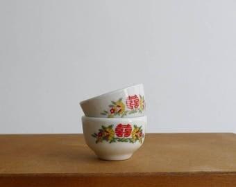 Vintage 70's Chinese Wedding Tea Cups