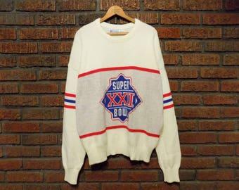 Vintage 80s Cliff Engle Super Bowl XXII 1987 Denver Broncos / Washington R******* Crew Neck Knit Sweater Men's XL