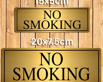 No Smoking Gold Metal Sign Plaque. 2 Size Options
