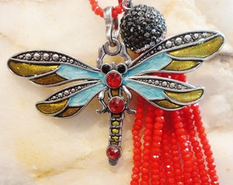 Dragonfly Beaded Pendant