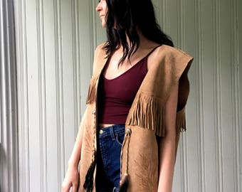 vintage 1970s vest oversized suede camel colored feathers and fringed stamped western Hippie Boho festival Vest