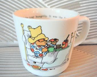 Paddington Bear mug, eating in bed,luxury, snacking,Paddington bear collectible ceramic cup, vintage Paddington