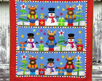 FROSTY'S CHRISTMAS | Quilt Patterns | PDF Pattern | Christmas Quilts | Snowmen | Applique Quilts | Happy Quilts | Kids Quilts | Reindeer