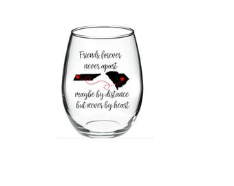 Best Friend Wine Glass - Long Distance Friendship Gift - Friendship Long Distance - Friendship Distance - 21 oz Stemless Wine Glass