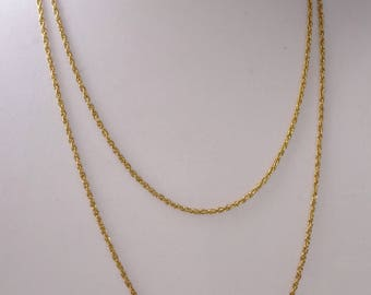 Vintage Necklace Gold Tone Long Chain Link Necklace