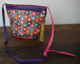 Vintage 80s Sharif Leather Shoulder Bag Purse / Colorful Sharif Snake bag / Vintage Geometric Purse / 1970's Boho Chic Tooled Leather Bag