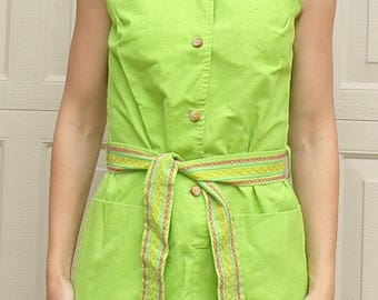 lime green TUNIC SHORTS SET byer 60's 70's xs S