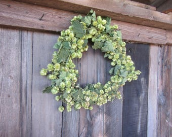 Hops Wreath, Direct from the Farm Natural Hops Wreath, 14 Inch Dried Hops Wreath, Beer hops Wreath,